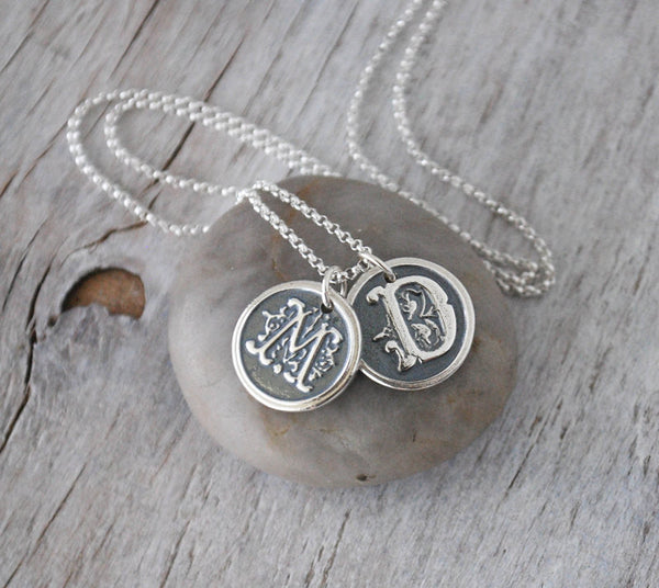 Personalized Silver Wax Seal Initials with Sterling Silver Chain - Two Ornate Letters - Prairie Coast Art