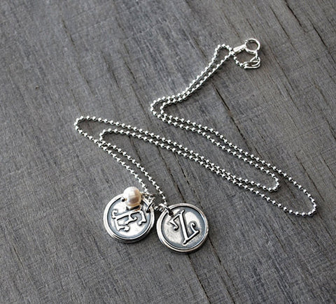 Two Personalized Initials with Pearl - Sterling Silver Chain - Customized Wax Seal Letters for Moms Necklace - Prairie Coast Art