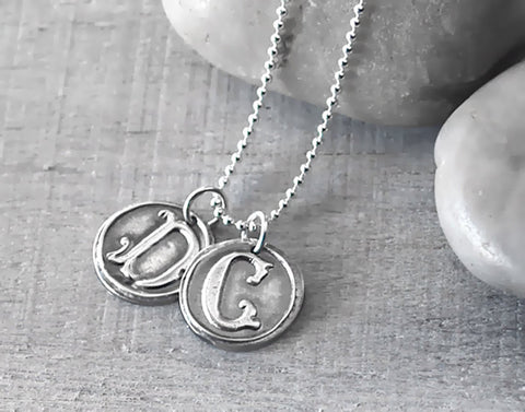 Sterling Silver Vintage Font Wax Seal Initial Necklace - Customized with Two Letters - Prairie Coast Art