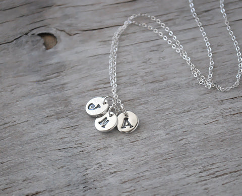 Three Initial Charm Necklace - Custom Initial Charms - Sterling Silver Chain - Prairie Coast Art