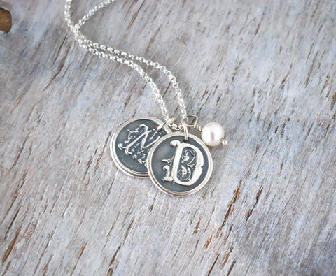 Customized Initials Wax Seal Necklace - Two Letters - Sterling Silver - Prairie Coast Art