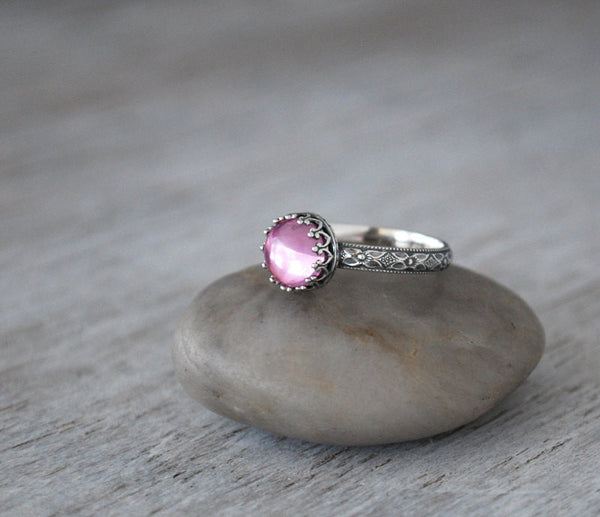 Pink Sapphire Ring with Sterling Silver Band - Handcrafted - Prairie Coast Art