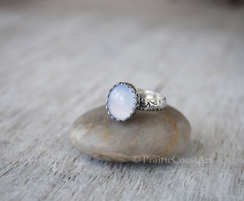 Blue Chalcedony Ring - Floral Leaf Sterling Silver Band - Handcrafted - Prairie Coast Art