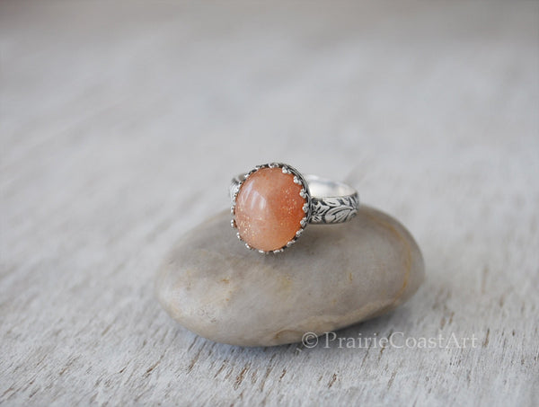 Sparkly Oval Goldsand Sunstone Ring - Sterling Silver Band - Handcrafted - Prairie Coast Art