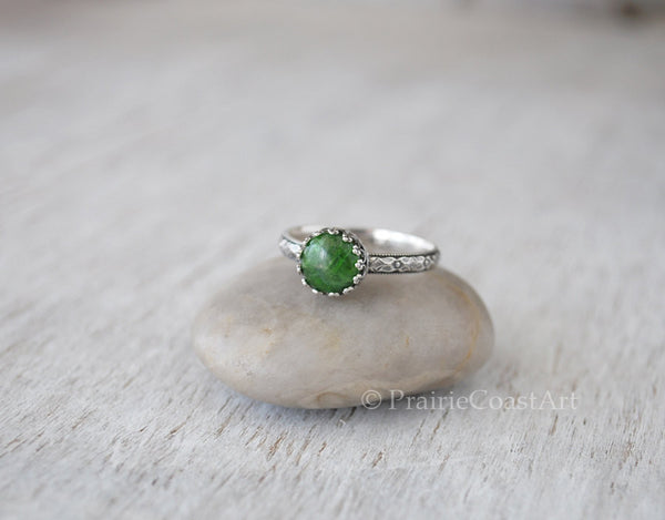 Chrome Diopside Ring - Sterling Silver Band - Handcrafted - Prairie Coast Art