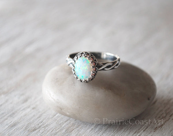 Oval Opal Ring in Sterling Silver - Handcrafted - Prairie Coast Art