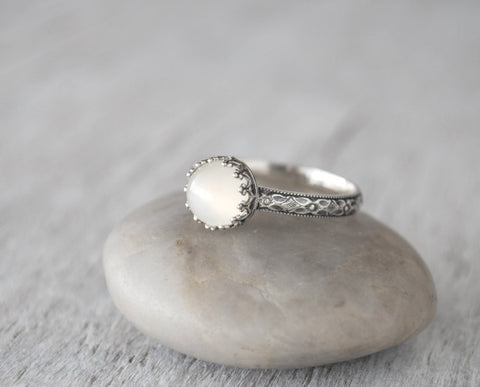 Moonstone Ring in Sterling Silver  - Crown Bezel - Handcrafted - Prairie Coast Art