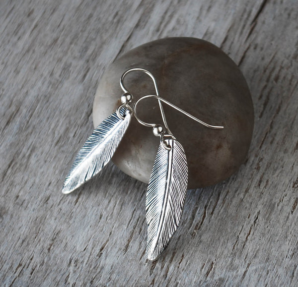 Silver Feather Earrings - Handcrafted - Prairie Coast Art