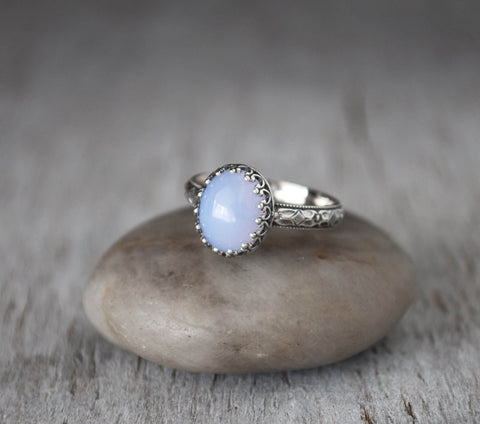 Blue Chalcedony Ring -  Sterling Silver Handcrafted - Prairie Coast Art