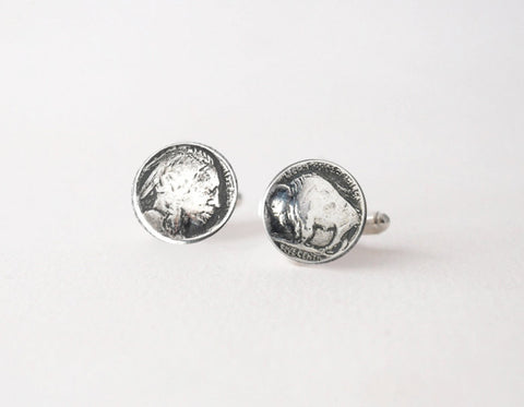 Buffalo Cufflinks -   Sterling Silver Buffalo Head Nickel - Prairie Coast Art
