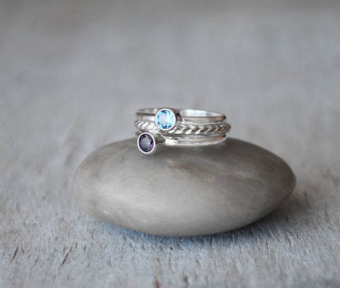 Birthstone Ring Set  - choice of Two birthstones plus a Twist Ring - Sterling Silver - Prairie Coast Art