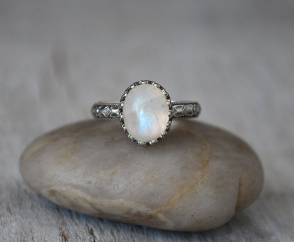 Rainbow Moonstone Ring with Sterling Silver Band - Handcrafted - Prairie Coast Art
