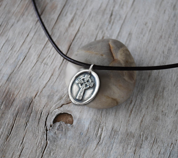 Celtic Cross Necklace - Wax Seal Cross with Leather Cord - Prairie Coast Art