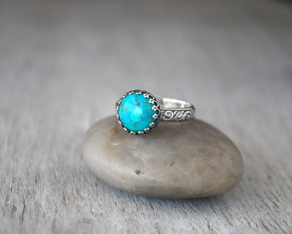 Arizona Turquoise Ring in Sterling Silver - Handcrafted - Prairie Coast Art