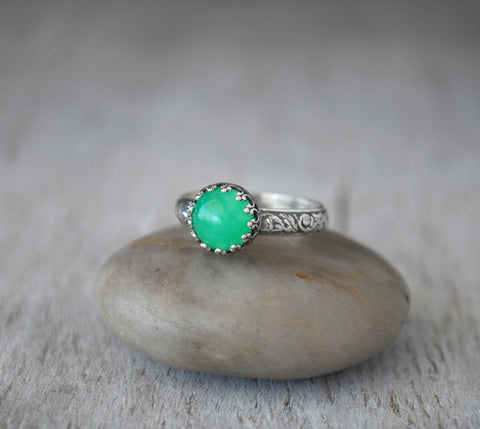 Chrysoprase Ring in Sterling Silver - Handcrafted - Prairie Coast Art
