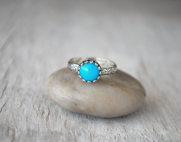 Sterling Silver American Turquoise Ring - Handcrafted - Prairie Coast Art