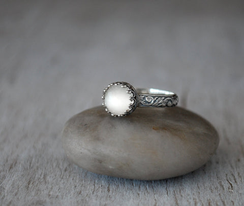 Rose Cut Moonstone Ring in Sterling Silver - Prairie Coast Art