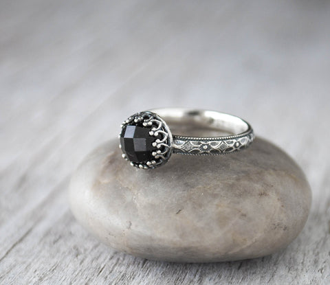 Rose cut Black Onyx Ring - Sterling Silver Band - Handcrafted - Prairie Coast Art