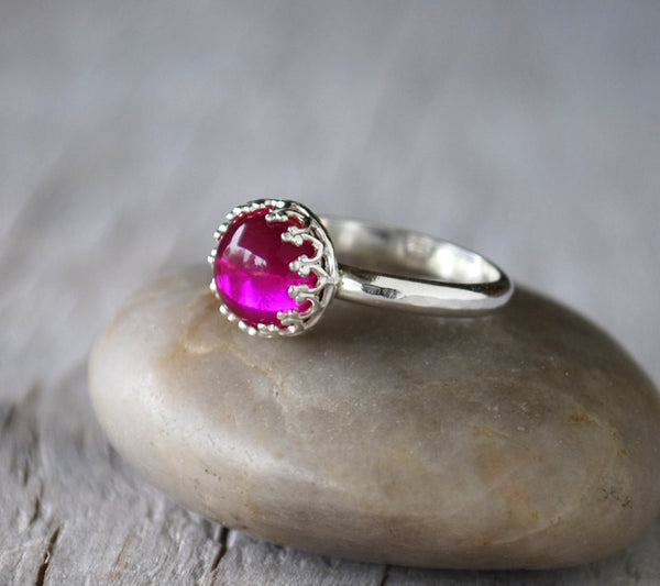 Ruby Ring in Sterling Silver - Handcrafted - Prairie Coast Art