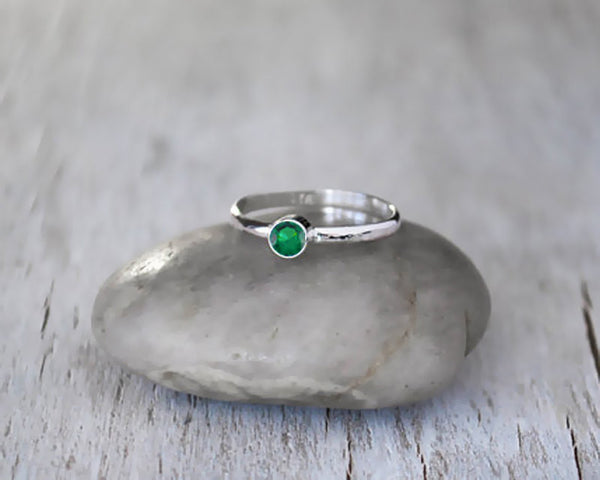 Sterling Silver Emerald Ring - May Birthstone Ring