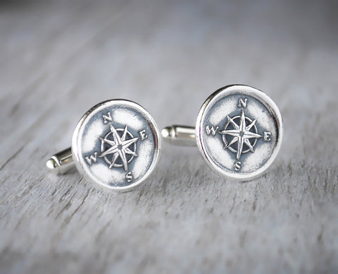Compass Cufflinks -  Sterling Silver - Nautical Wax Seal - Prairie Coast Art