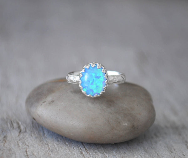 Oval Blue Opal Ring Sterling Silver - Handcrafted - Prairie Coast Art