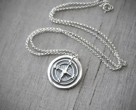 Wax Seal Silver Compass Rose Necklace -  Compass Necklace - Prairie Coast Art