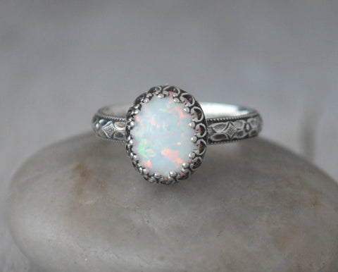 Oval Opal Ring with Patterned Sterling Silver Band - Handcrafted - Prairie Coast Art