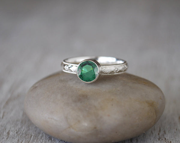 Emerald Ring in Sterling Silver - Handcrafted - May Birthstone Ring