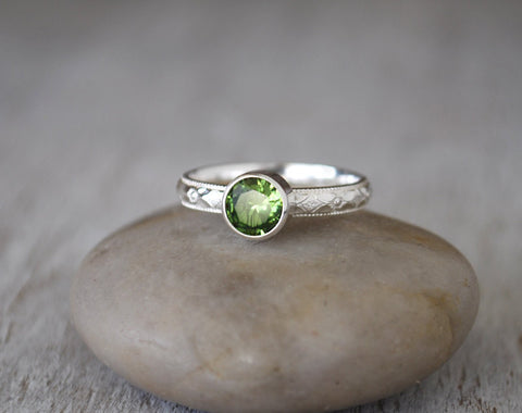 Peridot Ring in Sterling Silver - Handcrafted - Prairie Coast Art