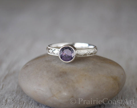Amethyst Ring in Sterling Silver - Handcrafted - February Birthstone - Prairie Coast Art