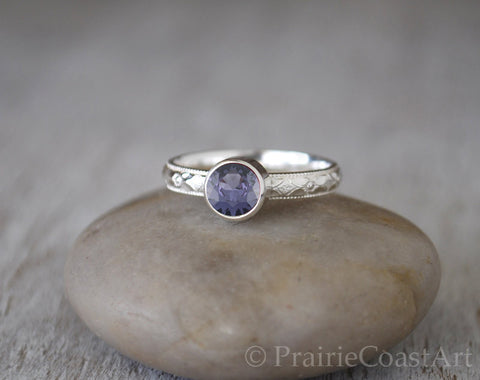 Alexandrite Ring in Sterling Silver - Handcrafted - June Birthstone - Prairie Coast Art