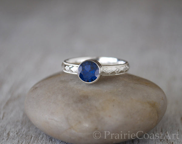 Sapphire Ring in Sterling Silver - Handcrafted - Prairie Coast Art