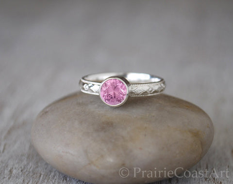 Pink Tourmaline Ring in Sterling Silver - Handcrafted - Prairie Coast Art