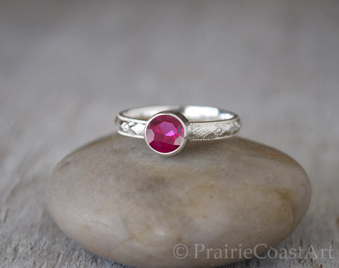 Ruby Ring with Patterned Sterling Silver Band - Handcrafted - Prairie Coast Art
