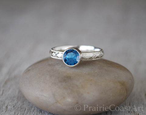Blue Zircon Ring in Sterling Silver - Handcrafted December Birthstone - Prairie Coast Art