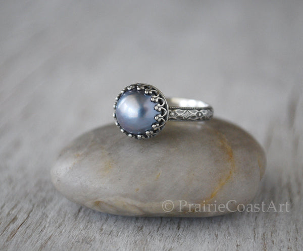 Peacock Mabe Pearl Ring in Sterling Silver - Handcrafted - Prairie Coast Art