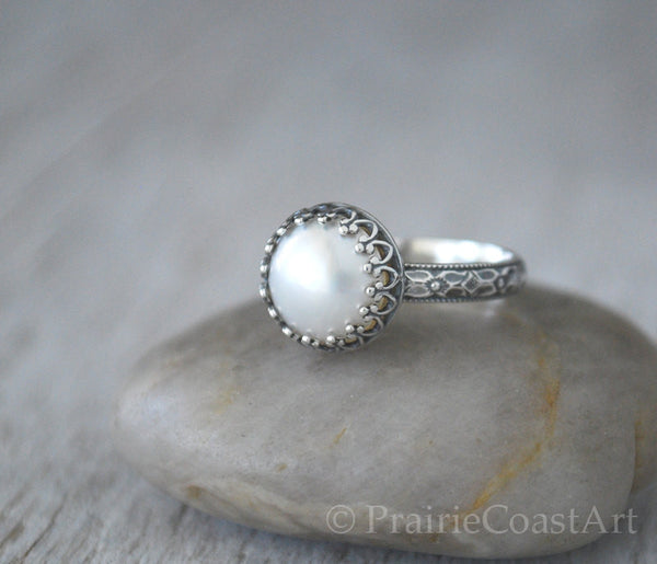 Mabe Pearl Ring in Sterling Silver - Handcrafted - Prairie Coast Art