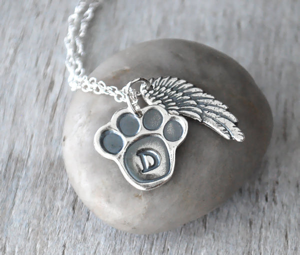 Personalized Paw Print Pet Necklace - Angel Wing Silver Remembrance for Dog or Cat - Prairie Coast Art