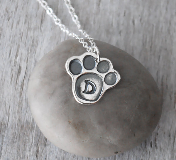Personalized Paw Print Necklace -  Sterling Silver Pet Necklace - Prairie Coast Art