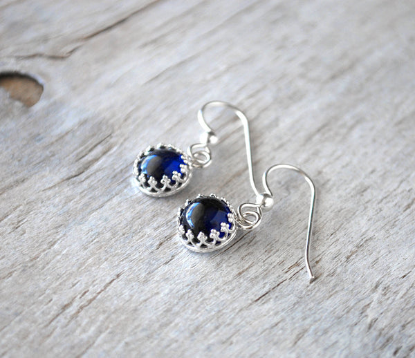Blue sapphire Dangle Earrings with Sterling French Ear Wires - Prairie Coast Art
