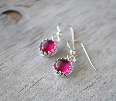 Sterling Silver Ruby Drop Earrings - Prairie Coast Art