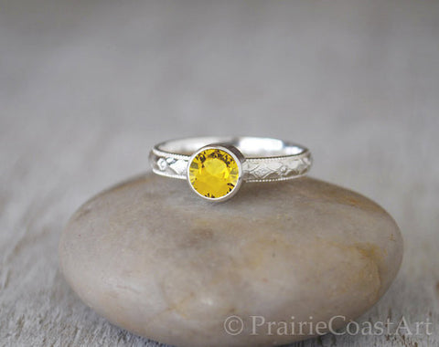 Golden Topaz Ring in Sterling Silver - Handcrafted - Prairie Coast Art