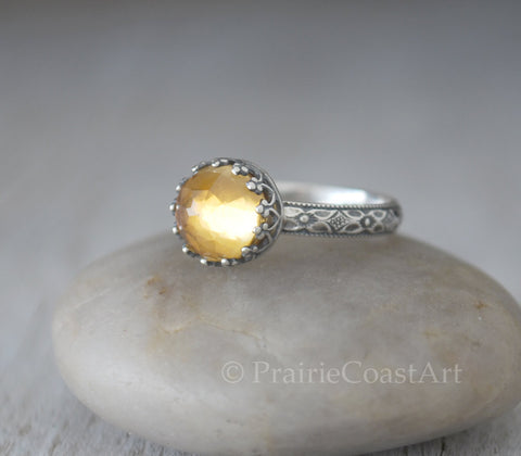 Citrine Ring Sterling Silver - Rose Cut Gemstone - November Birthstone - Prairie Coast Art