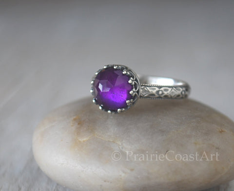 Amethyst Ring Sterling Silver Patterned Band - Handcrafted - Prairie Coast Art