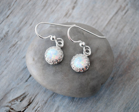 Opal Earrings Sterling Silver  - Opal Drop - Prairie Coast Art