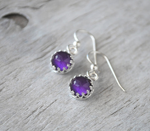 Amethyst Earrings Sterling Silver - Drop Earrings - February Birthstone - Prairie Coast Art