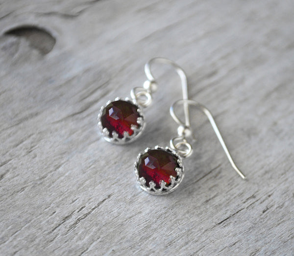Garnet Earrings Sterling Silver - Prairie Coast Art