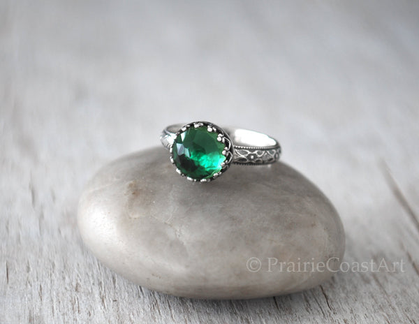 Green Onyx Ring - Sterling Silver - Prairie Coast Art
