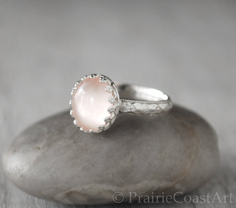 Pink Rose Quartz Ring Sterling Silver - Handcrafted - Prairie Coast Art